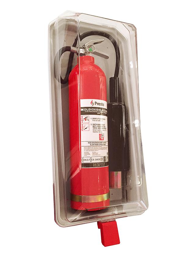 Brandsläckarskåp Släckarskåp i metall, glasfiber och plast